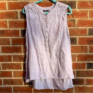 Tahari 100% linen sleeveless button down hi-lo top